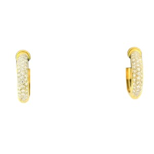 18K Yellow Gold and 0.80 ct. Diamond Hoop Earrings