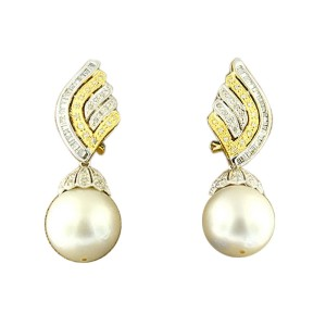 14K White Gold And Diamond Pearl Drop Earrings