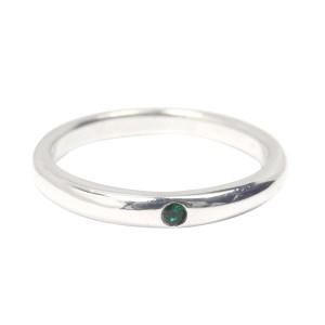 Tiffany & Co. Peretti 925 Sterling Silver & Emerald Band Ring Size 7