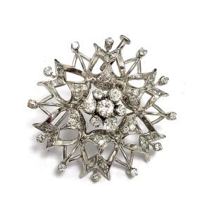 14k White Gold Flower Diamond Brooch / Pin