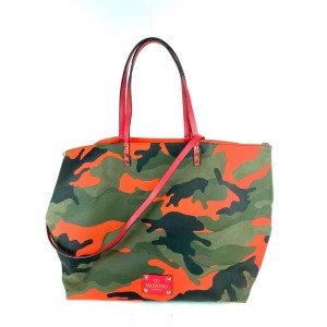 Valentino Bag Pink Reversible Shopper 2way 1val724 Camouflage Canvas Tote