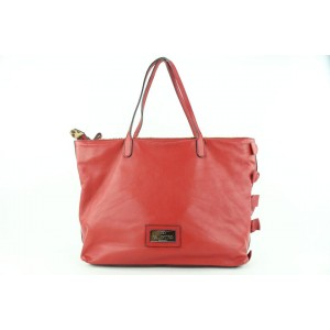 Valentino Red Leather Beaded Sequin Shopper Tote 69val423