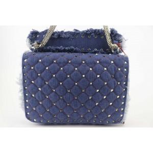 Valentino Chain Quilted Denim Rocstud Flap 1vk1127 Blue Deerskin Leather Cross Body Bag