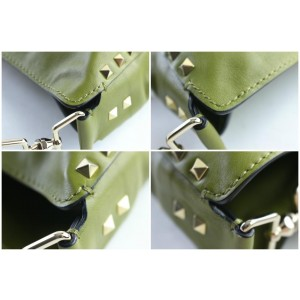 Valentino Messenger Hobo Rockstud Utilitarian 10mr0625 Green Leather Cross Body Bag