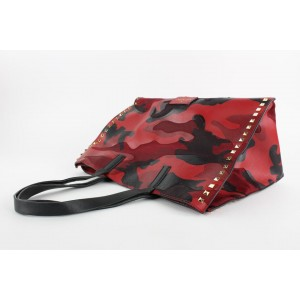 Valentino Red Rockstud Camo Canvas-Leather Medium Soft Tote Bag 9VAL1210