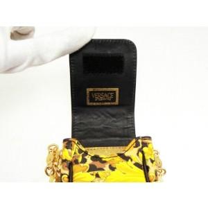 Versace Chain Classic Mini 235826 Black X Yellow Coated Canvas Cross Body Bag
