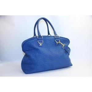 Versace Gianni Athena Vanitas Couture Greece Women Msml2 Blue Leather Satchel