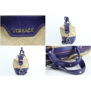 Versace Medusa 2way Jacquard Vitello 1mt914 Beige X Blue Canvas Shoulder Bag