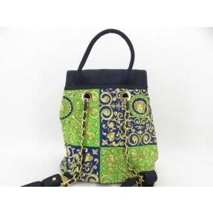 Versace Medusa Paisley Pattern 867046 Green Canvas Backpack