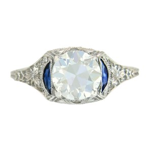 18K White Gold 1.28ct Diamond & Sapphire Engagement Ring Size 5.5