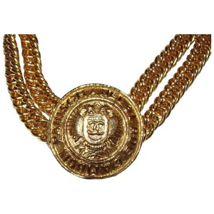 Chanel Eagle Crest Coin Necklace