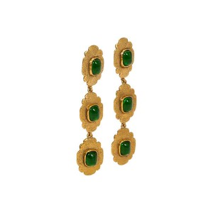 80s Chanel Long Green Gripoix Earrings