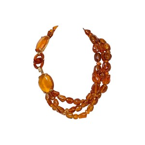 Chanel Triple Strand Amber Necklace