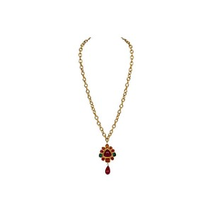 Chanel Gripoix Drop Pendant Necklace