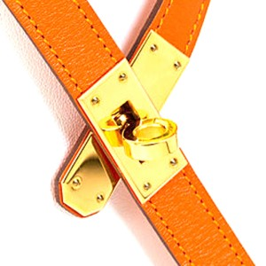 Hermes Orange Gold Kelly Necklace