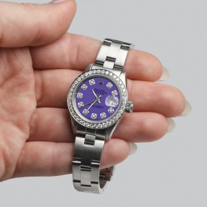 Rolex Datejust Ladies Automatic Stainless Steel 26mm Oyster Watch w/Lavender Dial & Diamond Bezel