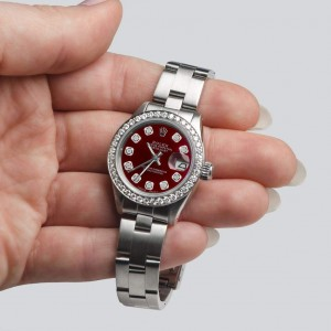 Rolex Datejust Ladies Automatic Stainless Steel 26mm Oyster Watch w/Merlot Red Dial & Diamond Bezel