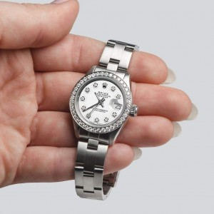 Rolex Datejust Ladies Automatic Stainless Steel 26mm Oyster Watch w/Pure White Dial & Diamond Bezel