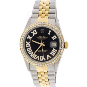 Rolex Datejust 2-Tone 18K Gold/SS 36mm Automatic Jubilee Watch with Black Roman Diamond Dial & Bezel