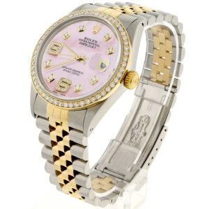 Rolex Datejust 2-Tone 18K Gold/SS 36mm Automatic Jubilee Watch with Pink MOP Diamond Dial & Bezel
