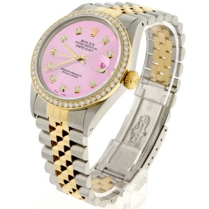 Rolex Datejust 2-Tone 18K Gold/SS 36mm Automatic Jubilee Watch with Orchid Pink Diamond Dial & Bezel