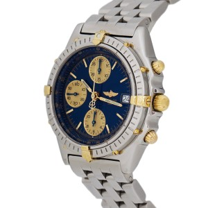 Breitling Chronomat  B13050.1 Chronograph Two-Tone Gold Stainless 38mm Blue Mens Watch