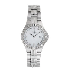 Bulova Stainless Steel Quartz 31mm Womens Mother of Pearl Dial and Diamond Watch