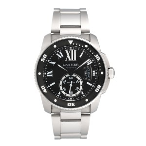 Cartier Calibre de Cartier W7100057 Black Dial Stainless Steel 42mm Mens Watch
