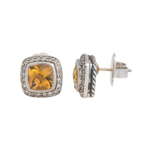 David Yurman Sterling Silver Diamond and Citrine Earrings