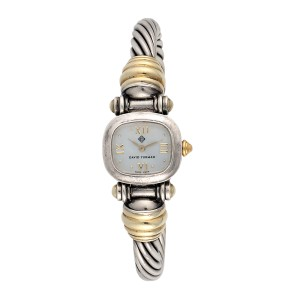 David Yurman Cable Sterling Silver and 14K Yellow Gold 21mm Quartz Womens Watch