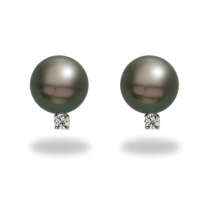 14k White Gold Diamonds Tahitian Black Cultured Pearl Earrings