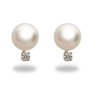 14k Yellow Gold Diamonds Akoya White Cultured Pearl Earrings
