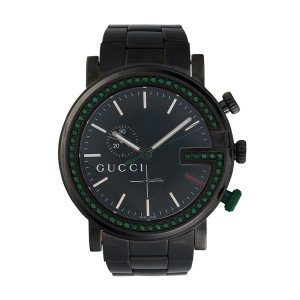 f4ed41ca5cb Gucci 101M PVD Stainless Steel Custom Green Emerald Bezel 47mm Mens Watch