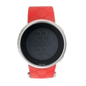 202e31f62d3 Gucci 114 Icon YA114202 Polished Steel Digital Red Strap 44mm Mens Watch
