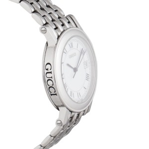 Gucci 7400M Stainless Steel & Leather White Roman Dial 34mm Womens Watch