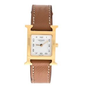 07102d9d063 Hermes H Watch HH1.201 Gold Plated Quartz 24.5mm Womens Watch ...