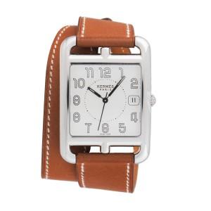 Hermes Cape Cod CC1.810 Double Wrap Leather 33mm Mens Watch