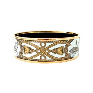 Hermes Gold Tone Enamel Bracelet Bangle