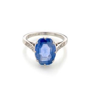 Vintage Platinum Sapphire and Diamond Ring