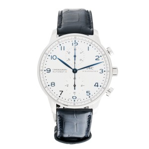IWC Portuguese Auto Chrono IW371446 Blue 41mm Stainless Steel Leather Watch