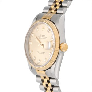Rolex DateJust 16233 Champaign Diamond Dial 36mm Watch