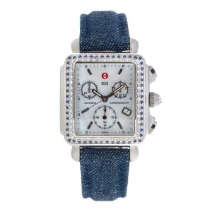 Michele Stainless Steel Deco Chronograph Diamond and Blue Sapphire 33mm Watch