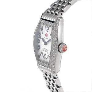 Michele Coquette 71-9001 Steel Watch 0.50ct Diamond Bezel Quartz Watch
