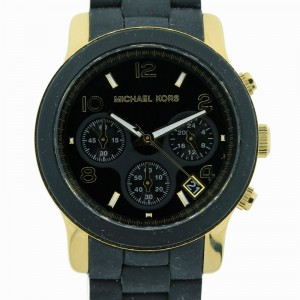 Michael Kors Chronograph Runway Stainless Steel and Black Polyurethane Watch