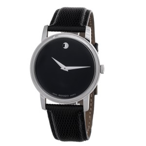 Movado Museum Black Dial Black Leather Strap Men's Watch