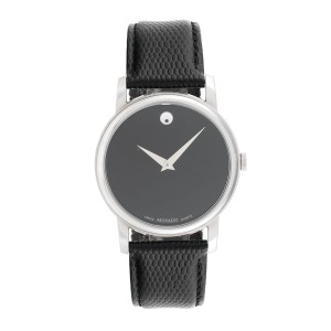Movado Museum 2100002 Black Dial Black Leather Strap 38mm Mens Watch
