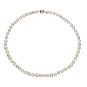 14k White Gold Akoya White Cultured Pearl Necklace