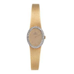 Omega 14K Yellow Gold & Diamonds Quartz 17mm Womens Watch