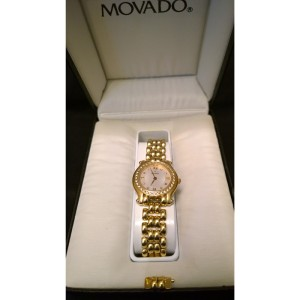 Movado 0690841 14K Yellow Gold and Diamond Ladies 25mm Watch