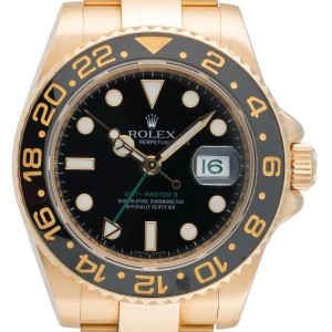 Rolex GMT Master II 116718BKSO Black Index Dial Oyster Bracelet 18K Yellow Gold 40mm Mens Watch